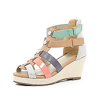 Girls multi bright strappy wedge sandals