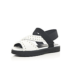 Girls white sporty studded sliders