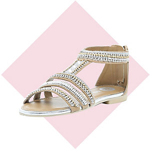 Girls cream embellished gladiator sandals
