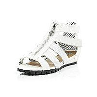 Girls white metallic gladiator wedge sandals