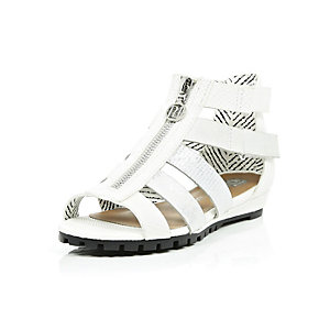 Girls white metallic gladiator wedge sandals