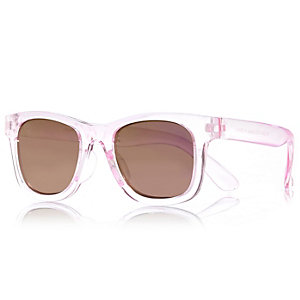 Mini girls light pink retro sunglasses
