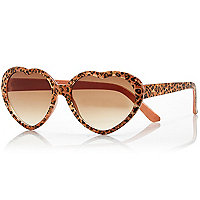 Girls leopard print heart frame sunglasses