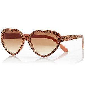 Mini girls leopard heart frame sunglasses