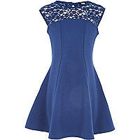 Girls navy lace insert skater dress