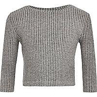 Girls grey long sleeve ribbed crop top