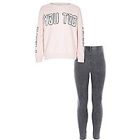 Girls pink heart you top and leggings outfit