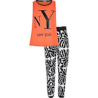 Girls coral NY tank and print jogger outfit
