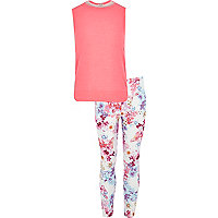 Girls pink top butterfly legging outfit