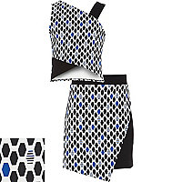 Girls blue geometric top and skirt set