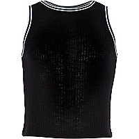 Girls black ribbed sporty racer top