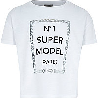 Girls white No 1 supermodel print t-shirt