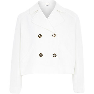 Girls cream double breasted swing jacket