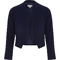 Girls navy cropped blazer jacket