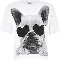 Girls white dog print t-shirt
