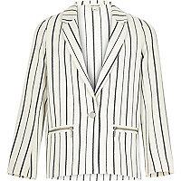 Girls cream pinstripe blazer