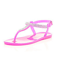 Girls pink gem barely there jelly sandals