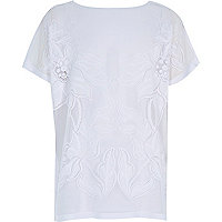 Girls white lace kaftan cover up