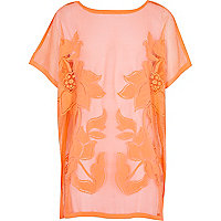Girls coral lace kaftan cover up