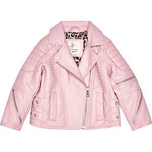 Mini girls pink leather-look biker jacket