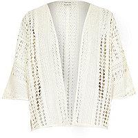 Girls cream crochet kimono