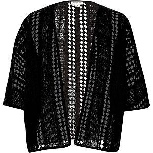 Girls black crochet kimono