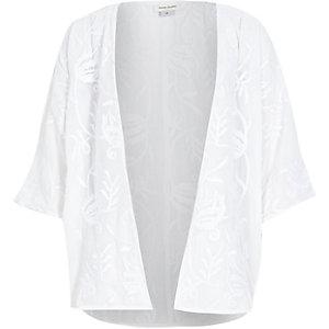 Girls white embroidered kimono