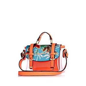 Girls orange printed jelly satchel bag