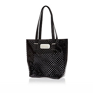 Girls black jelly laser cut dot beach bag