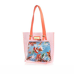 Girls orange jelly laser cut beach bag