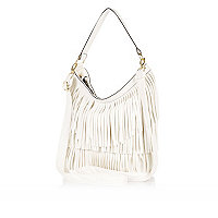 Girls white fringed bag
