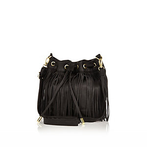 Girls black fringe duffle bag