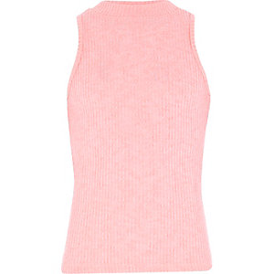 Girls pink ribbed turtle neck top