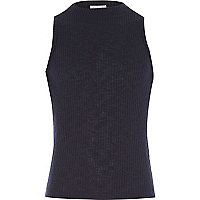 Girls navy ribbed turtle neck top