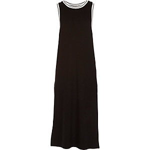 Girls black sporty white trim maxi dress