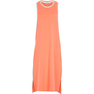 Girls coral striped trim maxi dress