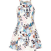 Girls white floral print skater dress