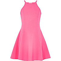 Girls pink racer front skater dress