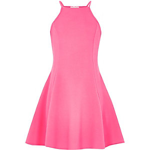Girls pink racer front skater dress