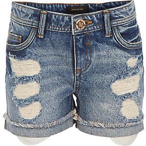 Girls ripped denim shorts