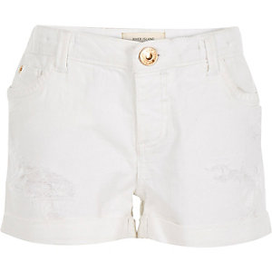Girls white distressed denim shorts