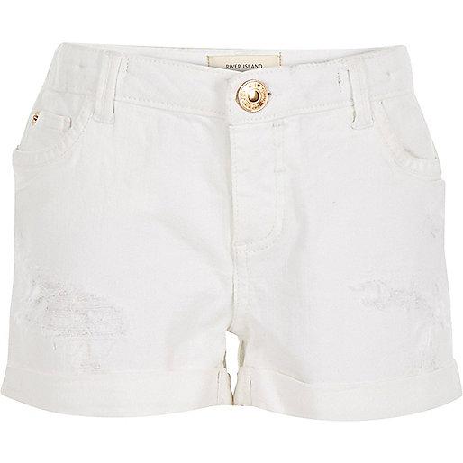 Girls white distressed denim shorts