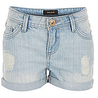 Girls blue distressed denim hipster shorts