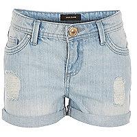 Girls light blue wash denim shorts