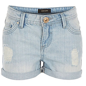 Girls blue distressed denim hipster shorts