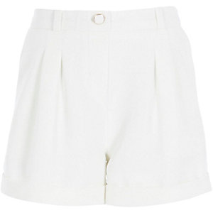 Girls white tailored shorts