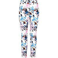Girls cream bright floral print trousers