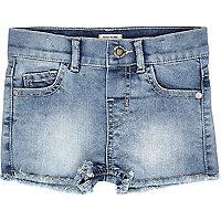 Short en jean mini fille avec ourlet effiloché