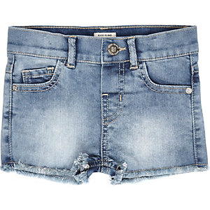 Mini girls frayed hem denim shorts