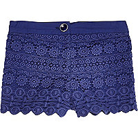 Mini girls navy crochet shorts